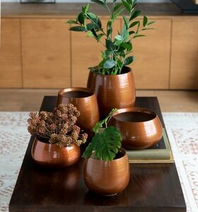 set vazen keramiek brons