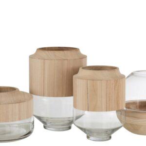 set vazen hout glas