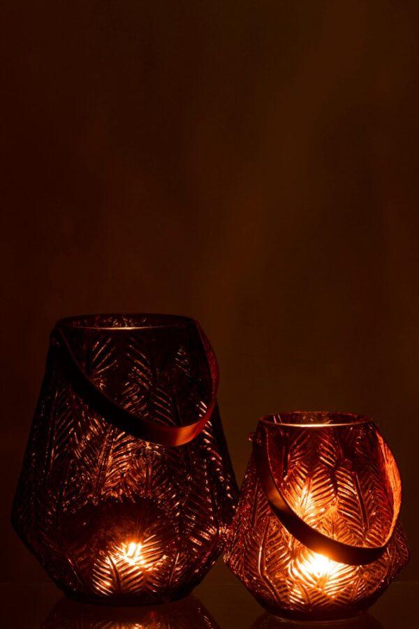 lantaarn/vaas bruin leer