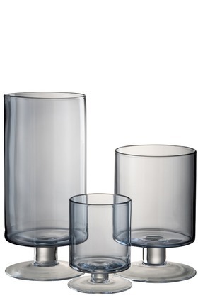 vazen theelichthouder blauw glas