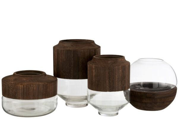 set vazen glas hout donker