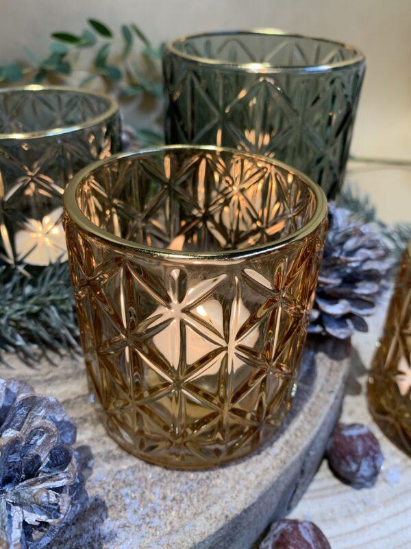 theelichthouder glas goud