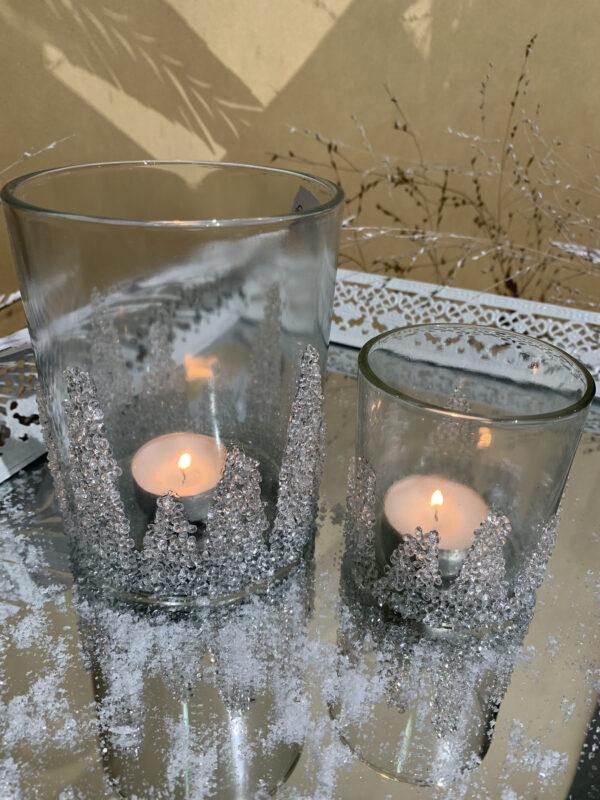 theelichthouder sneeuweffect glas