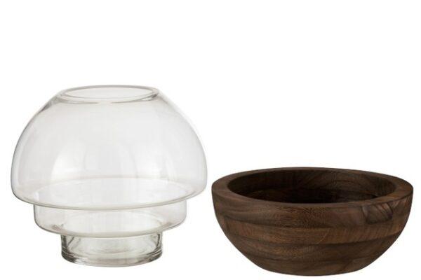 ronde vaas glas hout donker