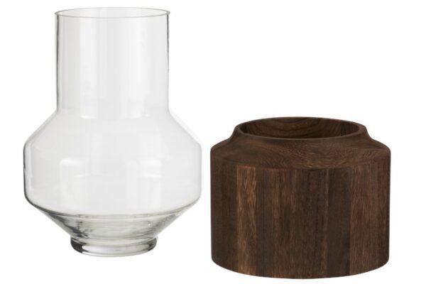 hoge vaas glas hout donker