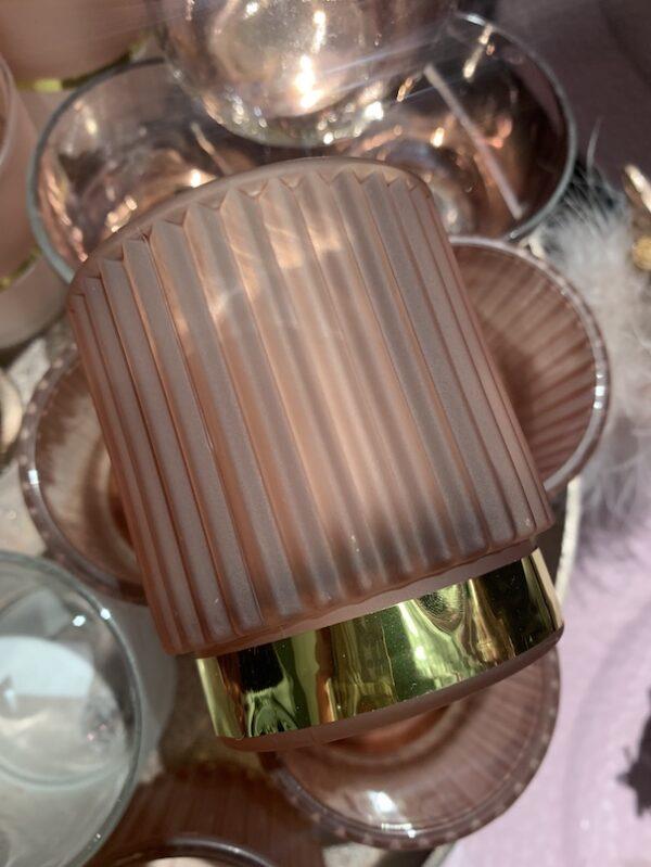 theelicht melkglas roze
